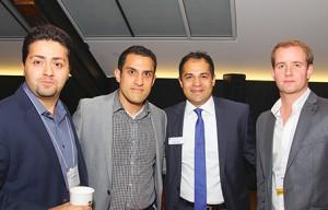 Professor Parham Aarabi (EngSci 9T8), Sep Seyedi (EngSci 0T3), moderator Arshia Tabrizi (CompE 9T5, Law 9T8), and Geordie Konrad (EngSci 1T0).