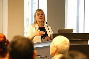 Professor Lesley A. Warren (CivE) presenting