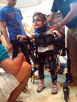 Manmeet Maggu's nephew Praneit takes Trexo Robotics's exoskeleton for a test drive
