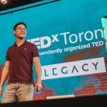 Gimmy Chu onstage at TEDxToronto 2017.