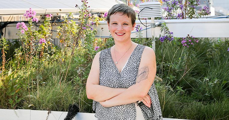 Jennifer Drake on the GRIT Lab's green roof