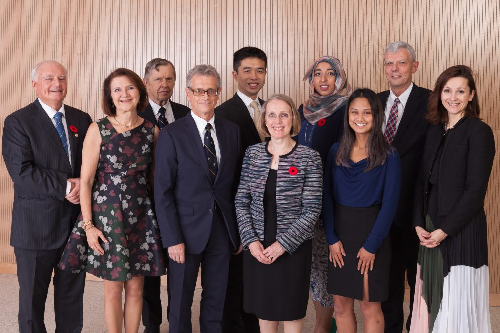 Dean Cristina Amon (second from left) with 2018 EAN Award recipients (L toR:) Larry Seeley, Alfred Aho, Elias Kyriacou, Alfred Mok, Janis Chodas, Huda Idrees, Reena Cabanilla, Bob Howard, and EAN President Teo Dechev. (Credit: Gustavo Toledo Photography)