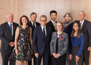 Dean Cristina Amon (second from left) with 2018 EAN Award recipients (L toR:) Larry Seeley, Alfred Aho, Elias Kyriacou, Alfred Mok, Janis Chodas, Huda Idrees, Reena Cabanilla and Bob Howard (Credit: