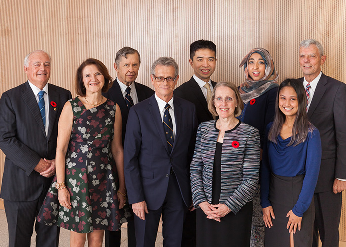 Dean Cristina Amon (second from left) with 2018 EAN Award recipients (L toR:) Larry Seeley, Alfred Aho, Elias Kyriacou, Alfred Mok, Janis Chodas, Huda Idrees, Reena Cabanilla and Bob Howard. (Credit: Gustavo Toledo Photography)